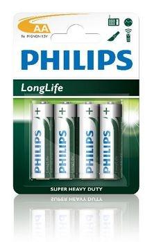 Philips batterijen longlife 1.5V AA 4 stuks