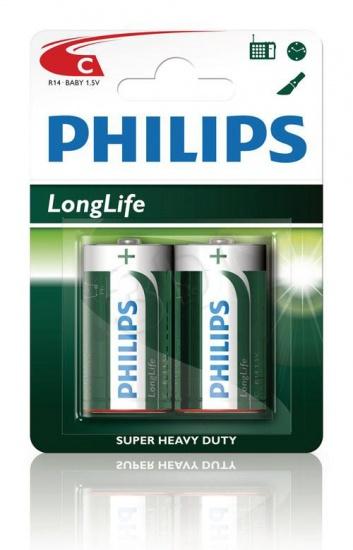 Philips batterij R14 longlife 1.5V per 2 stuks