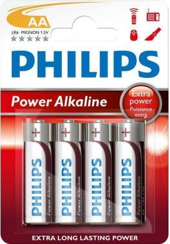 Philips batterijen AA Power Alkaline zilver/rood 4 stuks