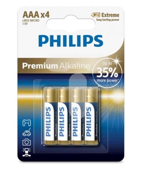 Philips batterijen AAA LR03 1.5V 4 stuks