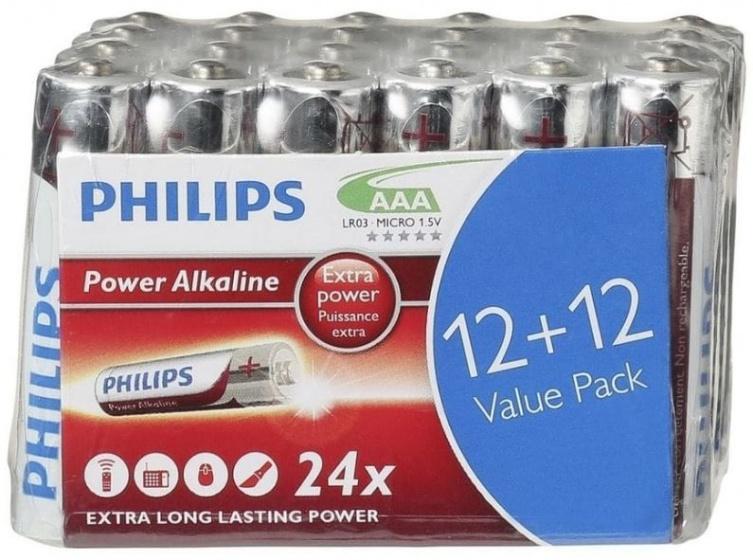 Philips batterijen AAA Power Alkaline zilver/rood 24 stuks