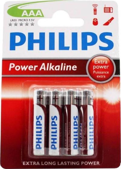 Philips batterijen AAA Power Alkaline zilver/rood 4 stuks