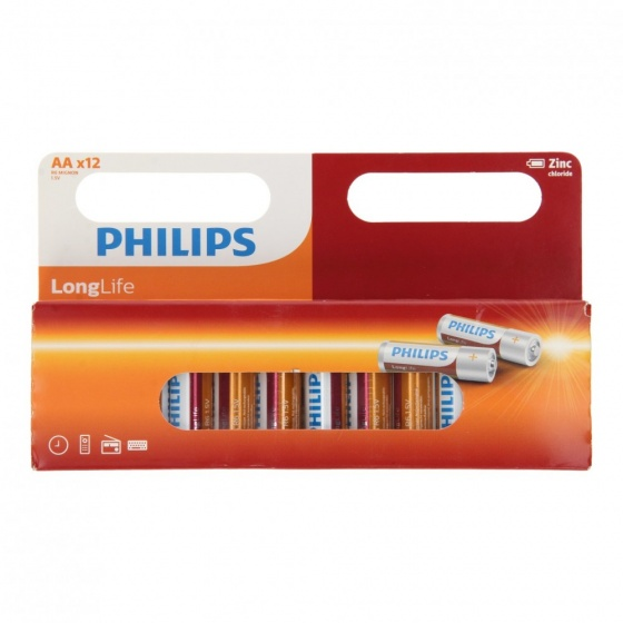 Philips batterijen longife zink R6 AA 12 stuks