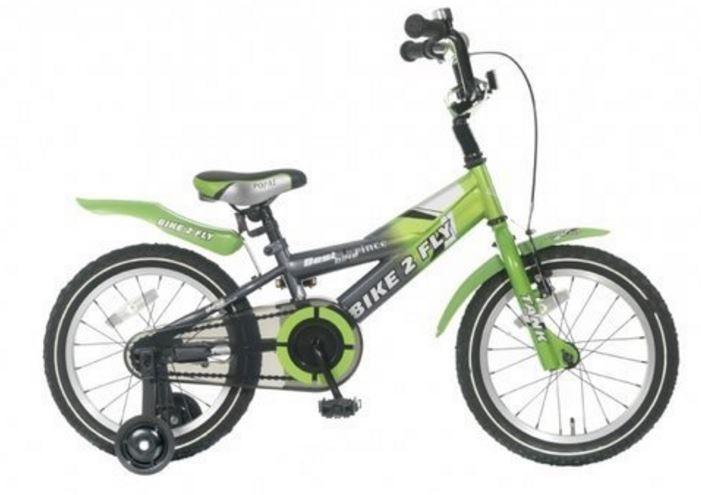 Popal Bike 2 FLY 16 Inch 21 cm Jongens Terugtraprem Groen/Grijs