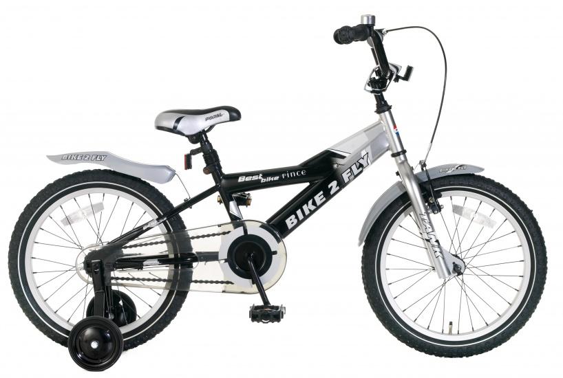 Popal Bike 2 Fly 18 Inch 24 cm Jongens Terugtraprem Zwart/Zilver
