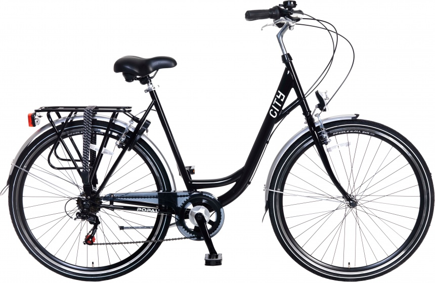 Popal City 28 Inch Dames 6V V-Brake Zwart