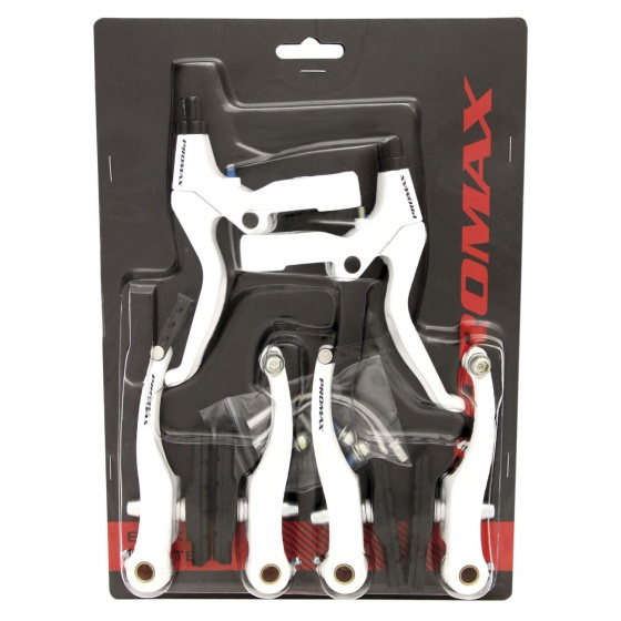 Promax remset V brake met remgrepen aluminium wit