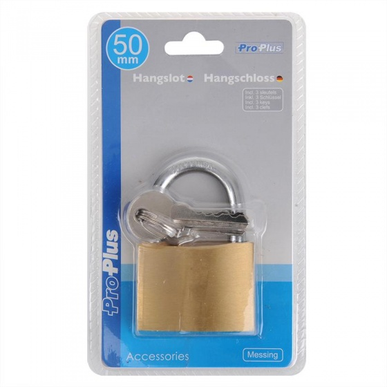 ProPlus hangslot 50 mm goud