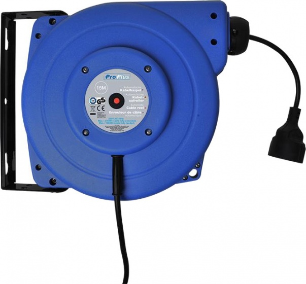 ProPlus kabelhaspel 15 meter 230 Volt 2750 Watt blauw