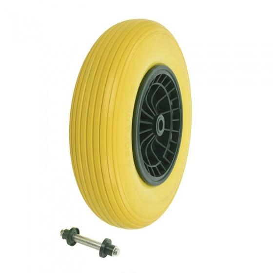ProPlus kruiwagenwiel as 20 mm PU/kunststof 16 inch geel/zwart