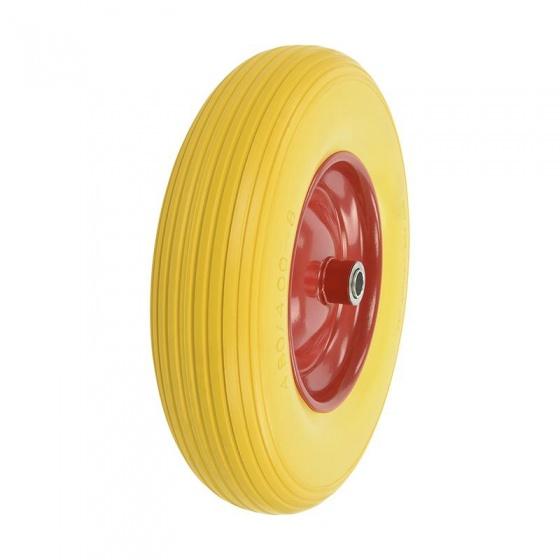 ProPlus kruiwagenwiel PU/staal 16 inch geel/rood