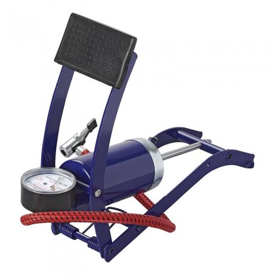 ProPlus voetpomp enkele cilinder met manometer 7 bar blauw