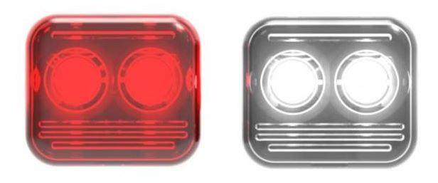 Reelight fietsverlichting AMS Flash staal rood/wit/zwart 4 delig