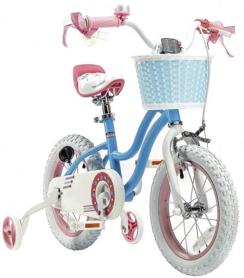 RoyalBaby Stargirl 14 Inch 25 cm Meisjes Terugtraprem Blauw/Roze