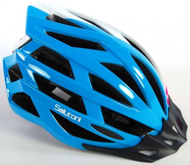 Salutoni fietshelm dames blauw/wit/roze 58 61 cm