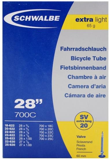 Schwalbe Binnenband SV20 27 x 7/8 / 28 x 1.00 (18 622/25 630) FV 60 mm