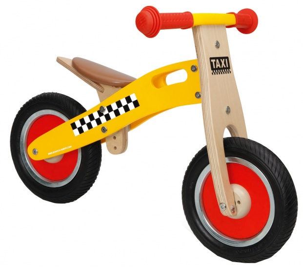 Scratch Move It houten loopfiets taxi Junior Geel/Blank