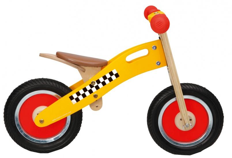 Scratch Move It houten loopfiets taxi Junior Geel/Blank