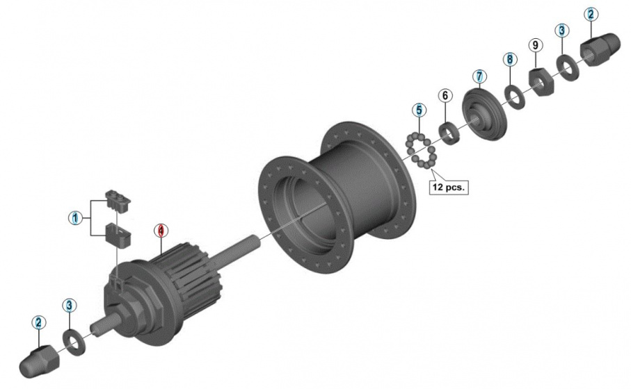Shimano binnenwerk 140 mm Nexus DH C3000 1N grijs