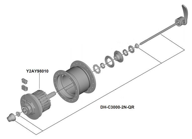 Shimano binnenwerk naaf DH C3000 2N QR 108 mm as zilver