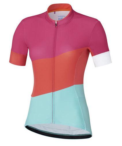 Shimano fietsshirt Sumire dames polyester roze/blauw maat M