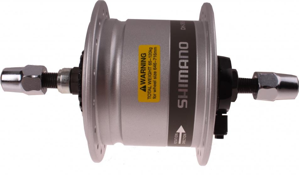 Shimano naafdynamo voor DH 3R35 rollerbrake zilver