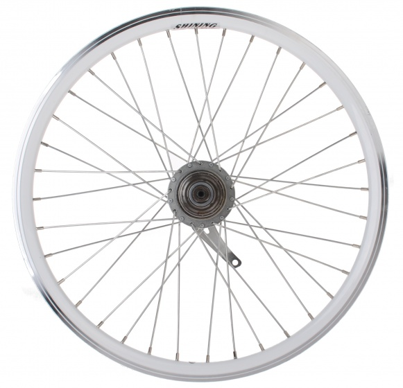 Shining achterwiel 22 inch terugtraprem 36G staal wit