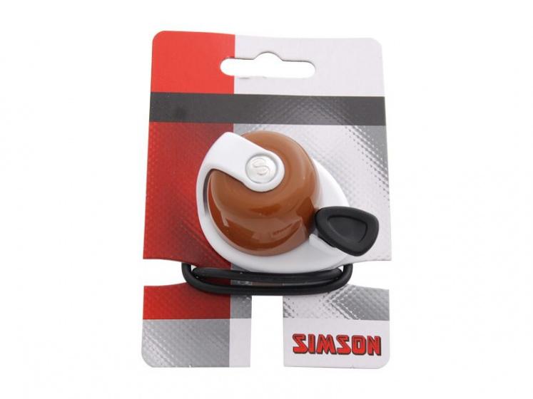 Simson fietsbel Allure 7,3 x 11 cm aluminium bruin/wit