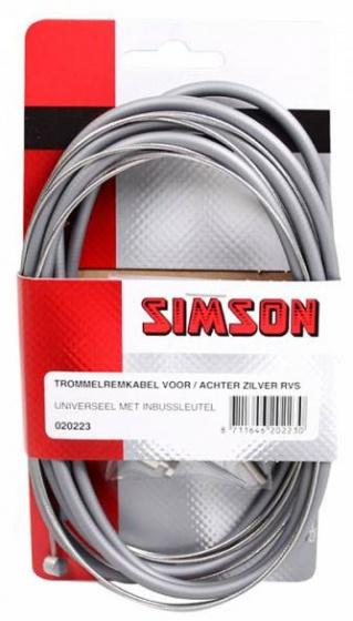 Simson remkabel set trommelrem 1600/2250 mm grijs/zilver