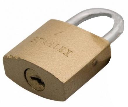Stahlex hangslot 20 x 2,8 mm goud
