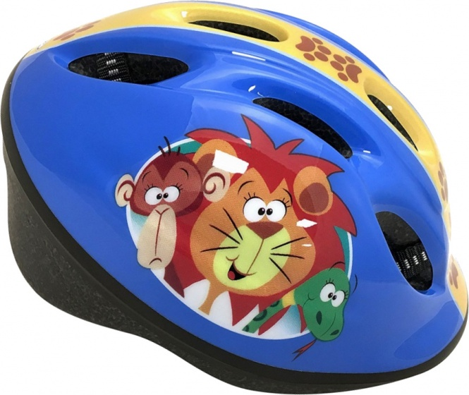 Stamp fietshelm Jungle Animals junior blauw maat 50/56 cm
