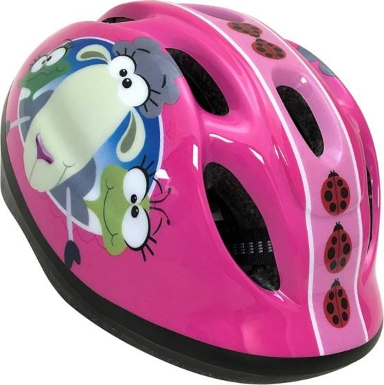 Stamp fietshelm Animals meisjes roze maat 50/56 cm
