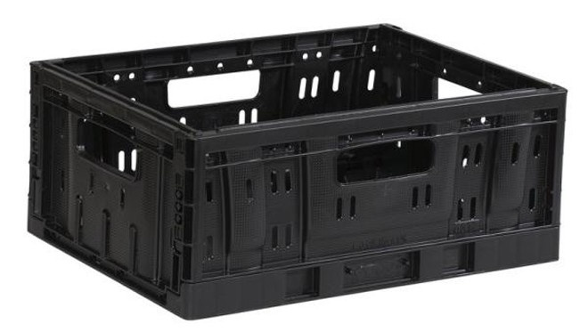 Steco Plastic Folding Crate Small Foldable Black