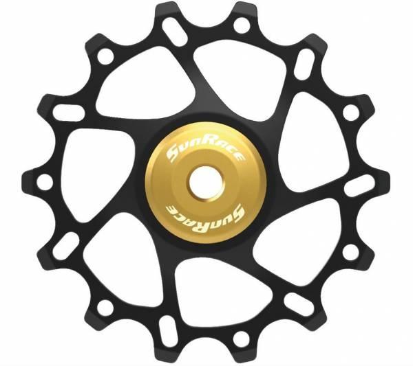 SunRace derailleurwieltje SP864 14 tanden zwart/geel