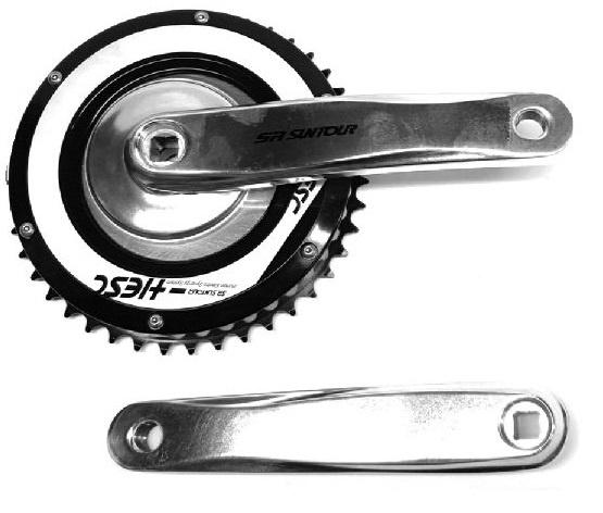 Suntour crankstel Hesc e bike 38T 20 cm zilver/zwart