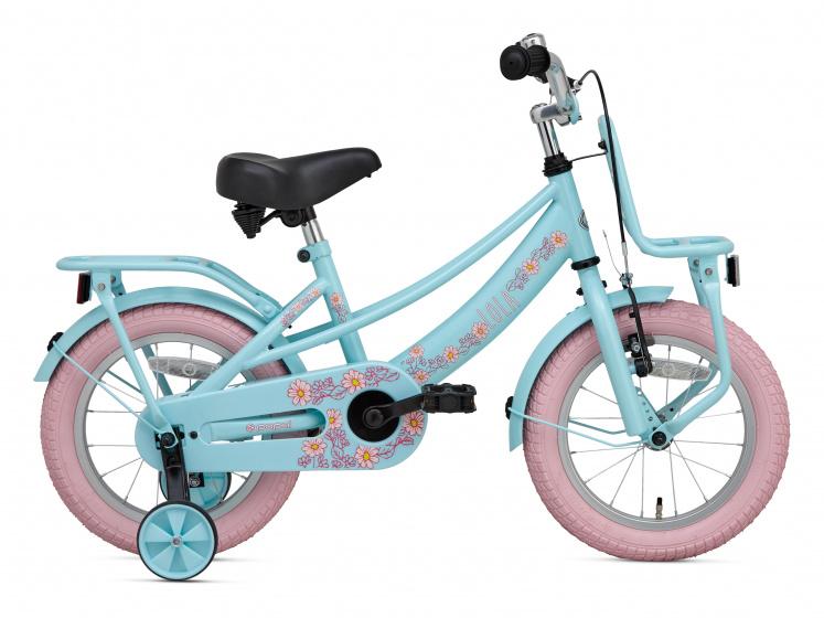 Supersuper Lola 14 Inch 21,5 cm Meisjes V Brakes Lichtblauw/Roze