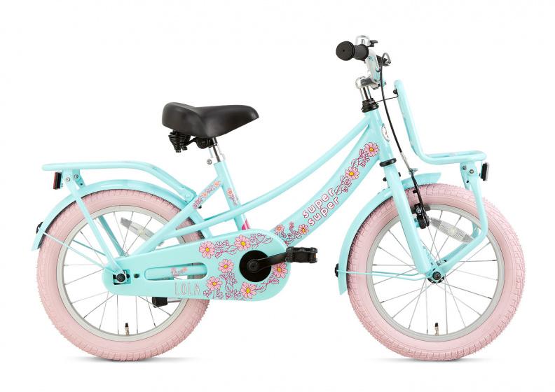 Supersuper Lola 18 Inch 28 cm Meisjes V Brakes Lichtblauw/Roze