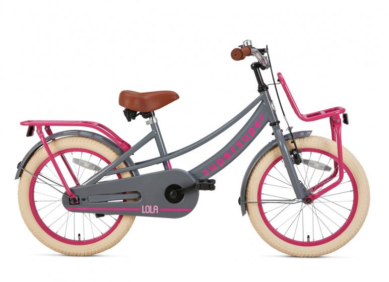 Supersuper Lola 18 Inch 28 cm Meisjes V Brakes Roze/Grijs