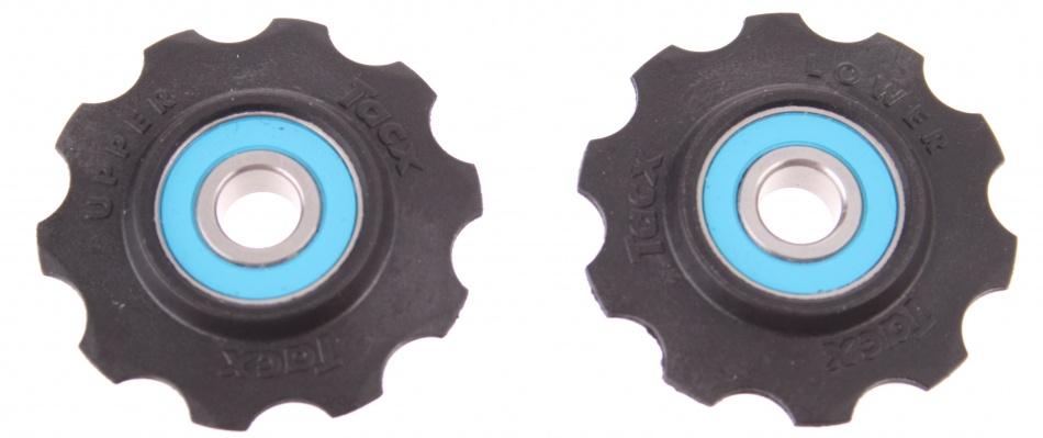 Tacx Derailleurwieltjes T4030 10 speed zwart 2 stuks