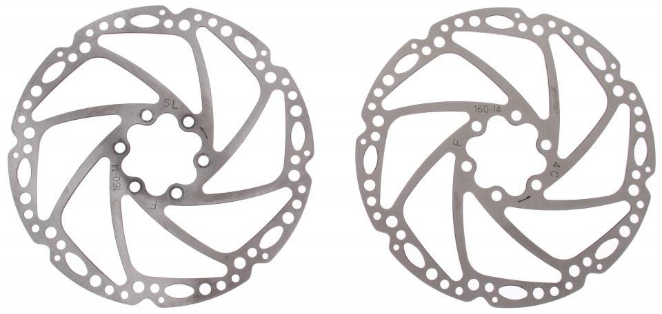 Tektro remschijven 160 mm 6 gaats zilver staal 2 stuks