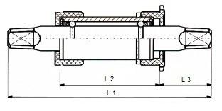 Thun trapas vierkante as 133 x 30 mm zwart/zilver
