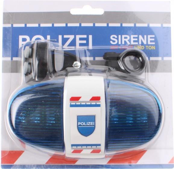 Toi Toys fietslicht politie met sirene Duits blauw