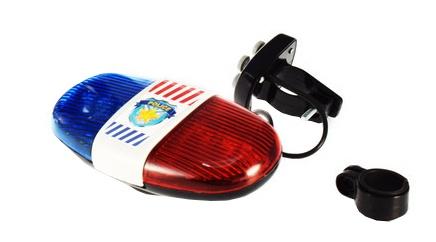 Toi Toys fietslicht politie met sirene blauw/rood