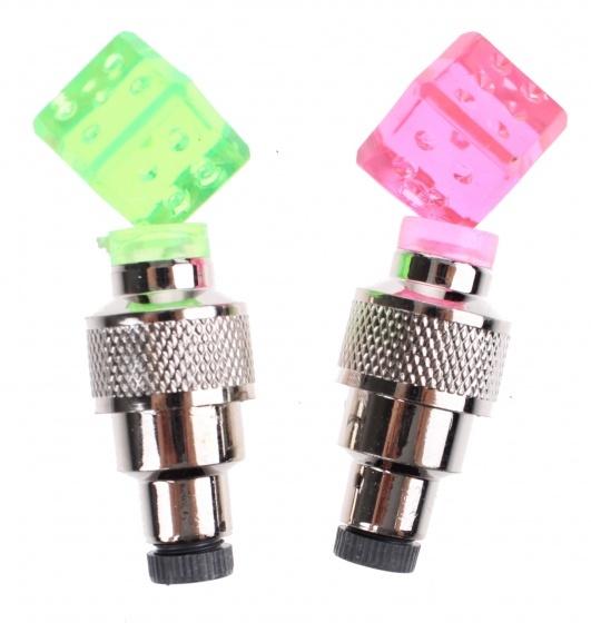 Toi Toys fietsventieldopjes met licht 2 cm 2 stuks roze/groen
