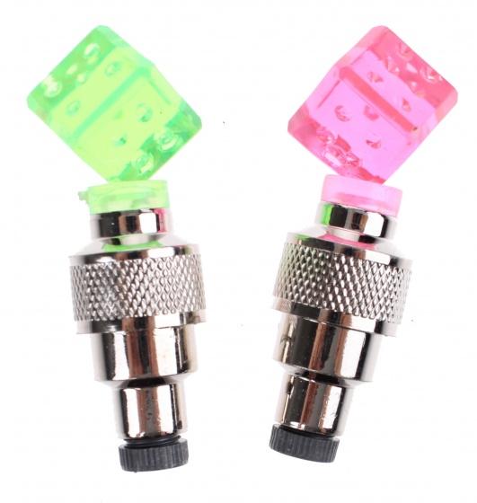 Toi Toys fietsventieldopjes met licht 6 cm 2 stuks roze/groen