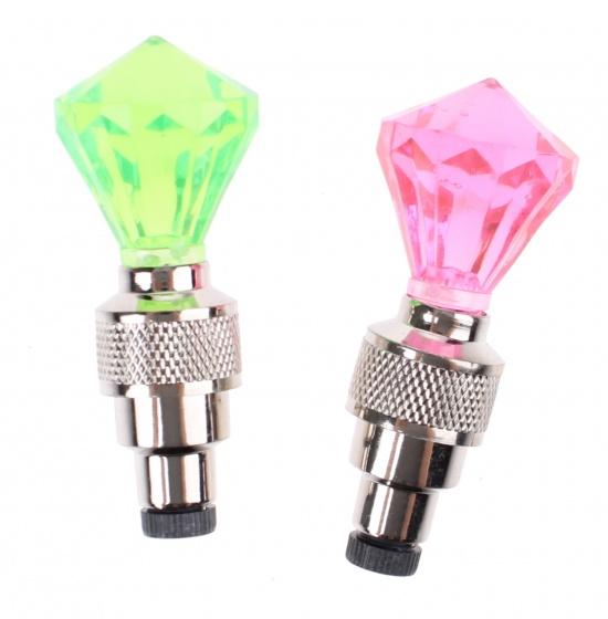 Toi Toys fietsventieldopjes met licht 6 cm roze/groen 2 stuks