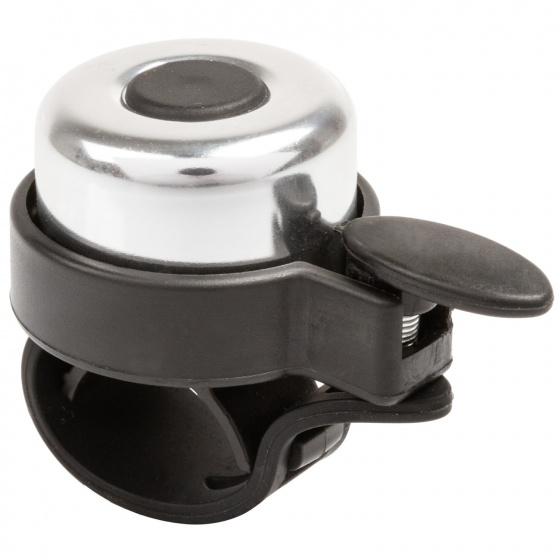 TOM fietsbel Mini 35 mm zilver/zwart Onderdelen & Accessoires Zilver Fietsbellen Mini Voor 16:00 uur besteld, dezelfde dag verzonden