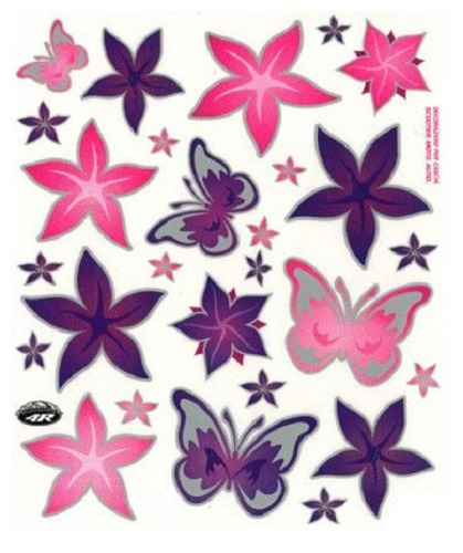 FC fietsstickers Bloemen & Vlinders 24 x 20 cm papier roze