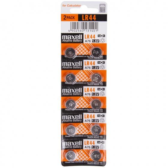 Maxell knoopcelbatterijen LR44 Alkaline 1,5V 10 stuks