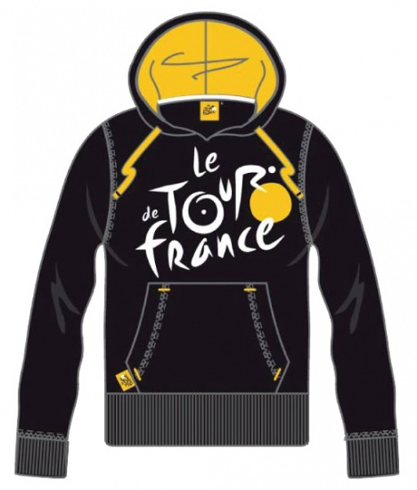 Tour De France Hooded Sweater Heren Logo Zwart Geel Maat XL